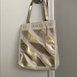 Victoria secret white and gold beach bag